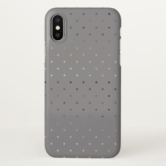 tiny faux rose gold grey polka dots pattern iPhone x case