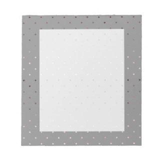 tiny faux rose gold grey polka dots pattern notepad
