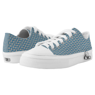 Tiny Fish Herringbone Pattern Blue and Gray Shoes