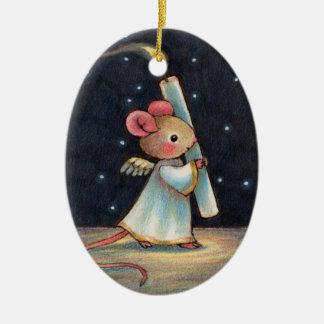 Tiny Flame - Cute Christmas Angel Mouse Art Christmas Ornament
