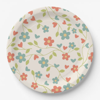Tiny Floral Print Red, Aqua, Green, Yellow Party 9 Inch Paper Plate