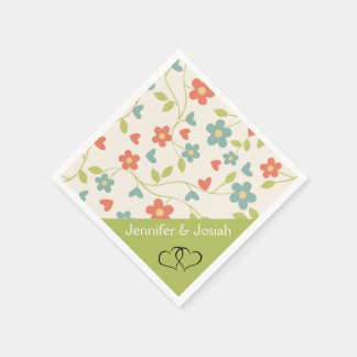 Tiny Flowers Personalized Wedding or Birthday Paper Napkins