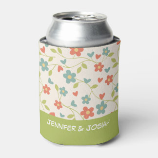 Tiny Flowers with Green Base Personalised Wedding Can Cooler