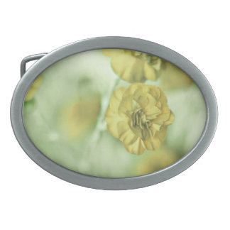 Tiny Flowers Yellow Oval Belt Buckles