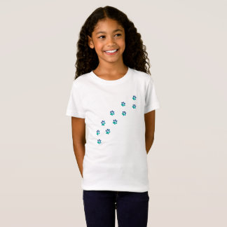 Tiny Funny Dog Pawprints Footprints Girl's T-Shirt