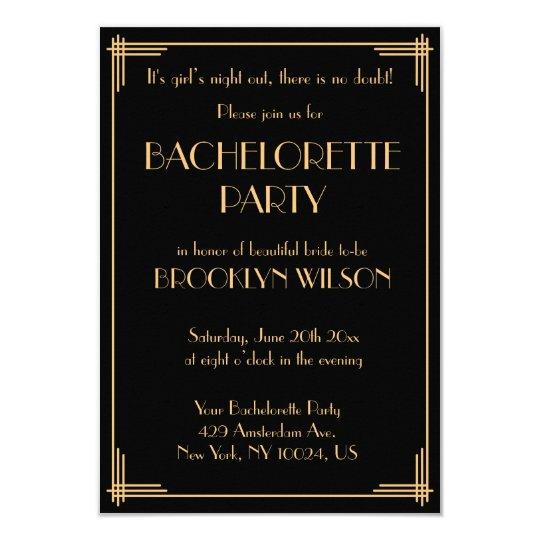 Tiny Gatsby Art Deco Bachelorette Party Invite