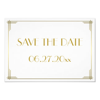 Tiny Gatsby Gold Art Deco Save The Date Card