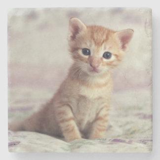 Tiny Ginger Kitten Stone Coaster