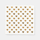 Tiny Gold Glittered Hearts Pattern Cocktail Napkin Disposable Serviette