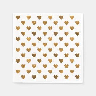 Tiny Gold Glittered Hearts Pattern Cocktail Napkin Standard Cocktail Napkin