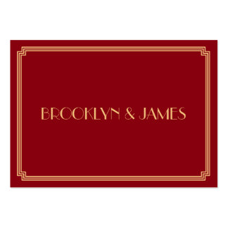 Tiny Great Gatsby Art Deco Red Gold Wedding RSVP Large Business Cards (Pack Of 100)