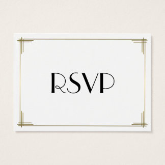 Tiny Great Gatsby White Art Deco Wedding RSVP Business Card