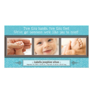 Tiny Hands, Tiny Feet Birth Announcement (aqua) Customised Photo Card