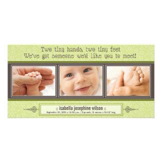 Tiny Hands, Tiny Feet Birth Announcement (lime) Card