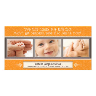 Tiny Hands, Tiny Feet Birth Announcement (orange) Photo Card
