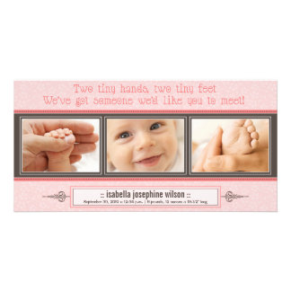 Tiny Hands, Tiny Feet Birth Announcement (pink) Personalised Photo Card