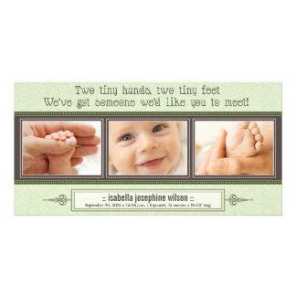 Tiny Hands, Tiny Feet Birth Announcement (sage) Card
