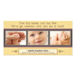 Tiny Hands, Tiny Feet Birth Announcement (yellow) Picture Card