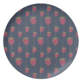 Tiny Hanging Strawberries Party Plate