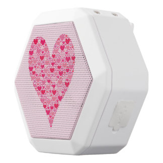 Tiny Hearts Big Heart on Rose Pink White Boombot Rex Bluetooth Speaker
