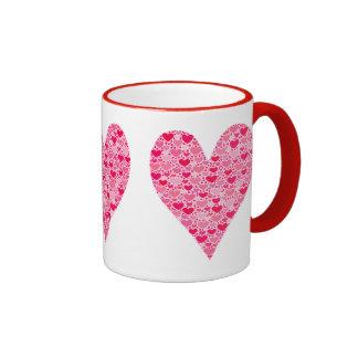 Tiny Hearts Big Heart on Rose Pink Coffee Mugs