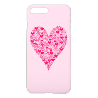 Tiny Hearts Big Heart on Rose Pink Valentines iPhone 7 Plus Case