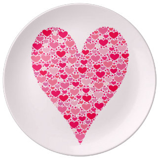 Tiny Hearts Big Heart on Rose Pink Valentines Porcelain Plate