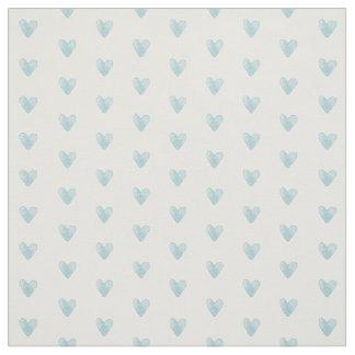 Tiny Hearts Pattern | Pale Teal Aqua Fabric