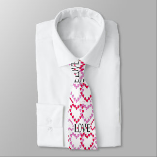 Tiny Hearts Pink Red LOVE Tie