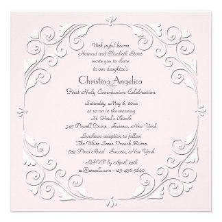 Tiny Hearts Pink Religious Invitation