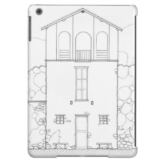 Tiny House Black & White Architecture Ink Drawing iPad Air Cover
