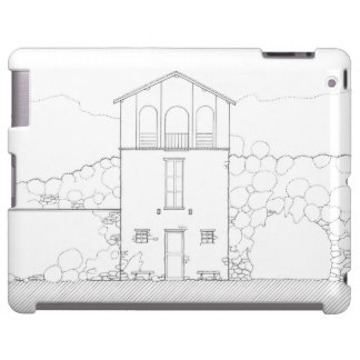 Tiny House Black & White Architecture Ink Drawing iPad Case