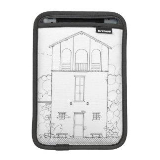 Tiny House Black & White Architecture Ink Drawing iPad Mini Sleeve