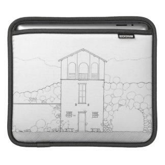 Tiny House Black & White Architecture Ink Drawing iPad Sleeve