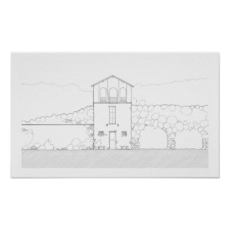 Tiny House Black & White Architecture Ink Drawing Poster