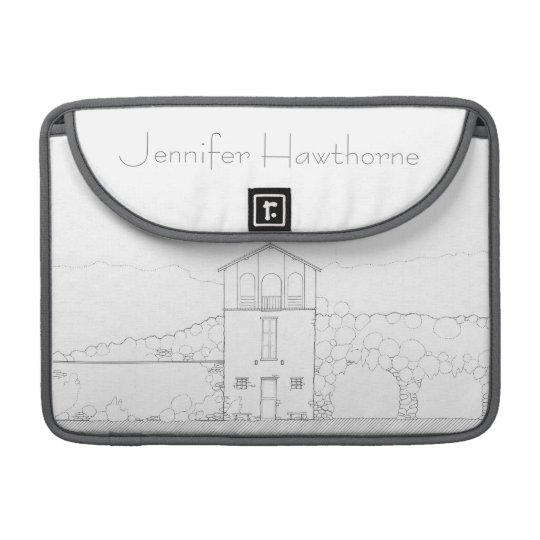 Tiny House Black & White Architecture Personalised MacBook Pro Sleeve