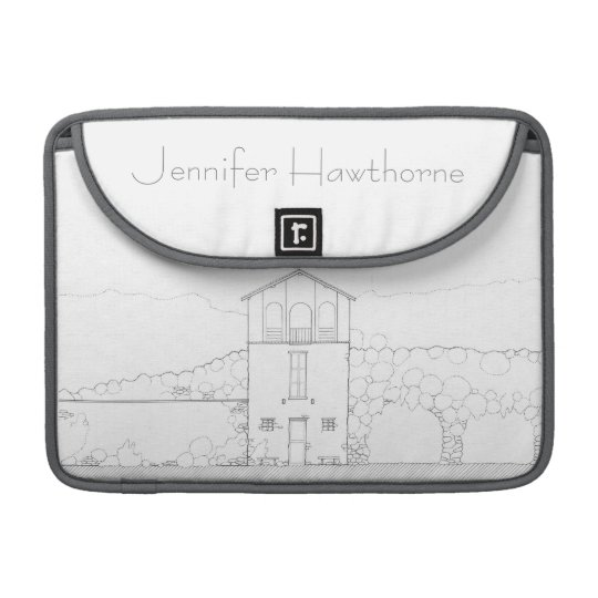 Tiny House Black & White Architecture Personalised Sleeve For MacBook Pro