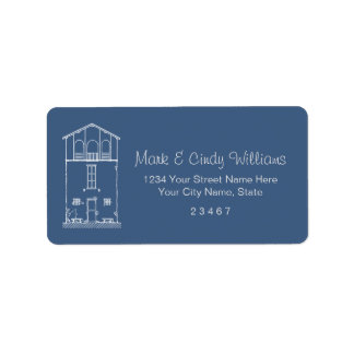 Tiny House Blue & White Blueprint Style Drawing Address Label