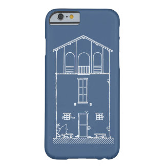 Tiny House Blueprint Drawing Blue and White Barely There iPhone 6 Case