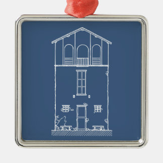 Tiny House Blueprint Drawing Blue and White Christmas Ornament