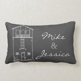 Tiny House Chalkboard Drawing Personalized Grey Lumbar Cushion
