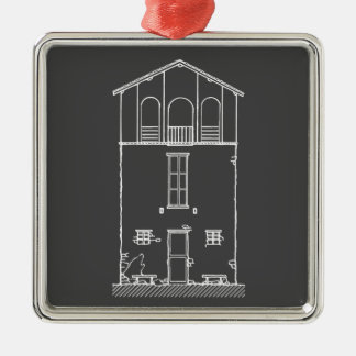 Tiny House Grey and White Chalkboard Drawing Christmas Ornament