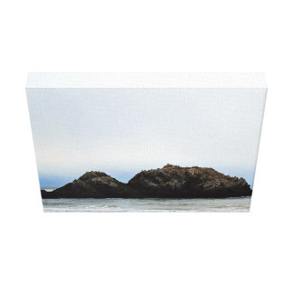 Tiny island in sea stretched canvas print
