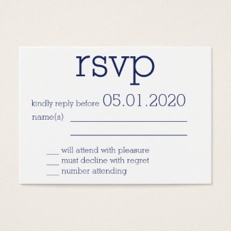 Tiny Monogrammed White Modern Wedding RSVP Cards