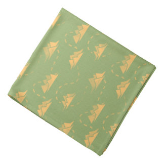 Tiny Mountains Trail GREEN-ORANGE Bandana