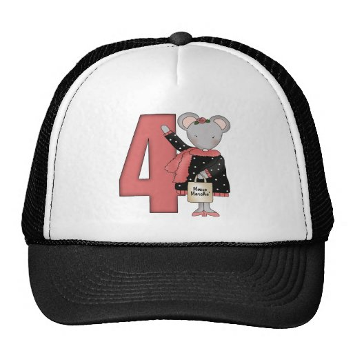 Tiny Mouse 4th Birthday Gifts Trucker Hat