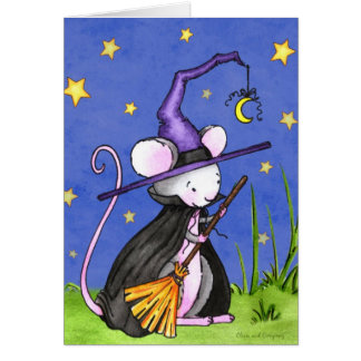 Tiny Mouse Witch Halloween Greeting Card