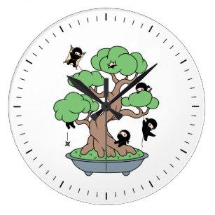 Tiny Ninjas in Bonsai Tree Large Clock