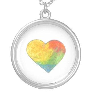 Tiny Pastel Heart #6 Round Pendant Necklace