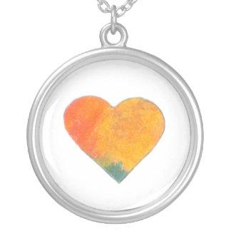 Tiny Pastel Heart #8 Round Pendant Necklace